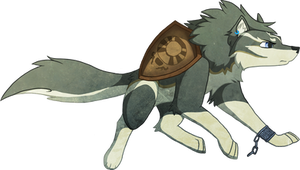 Wolf Link with Ordon Shield by Lady-Revan
