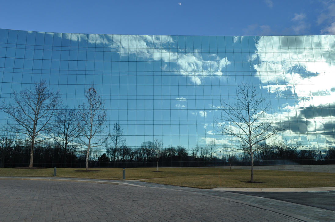 Sky Reflections on Building by ticklemeimsexy