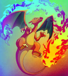 Charizard (Coloring commish for Tygerr) by LucarioOcarina