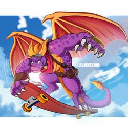 Adult Spyro Skateboarding by LucarioOcarina