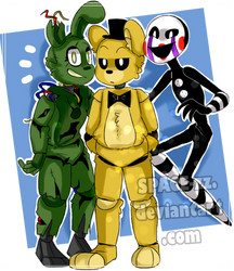 Springtrap, Golden Freddy, Puppet .:FNAF:. by SPACE-zz