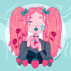 Strawberry Milk by grimroseart