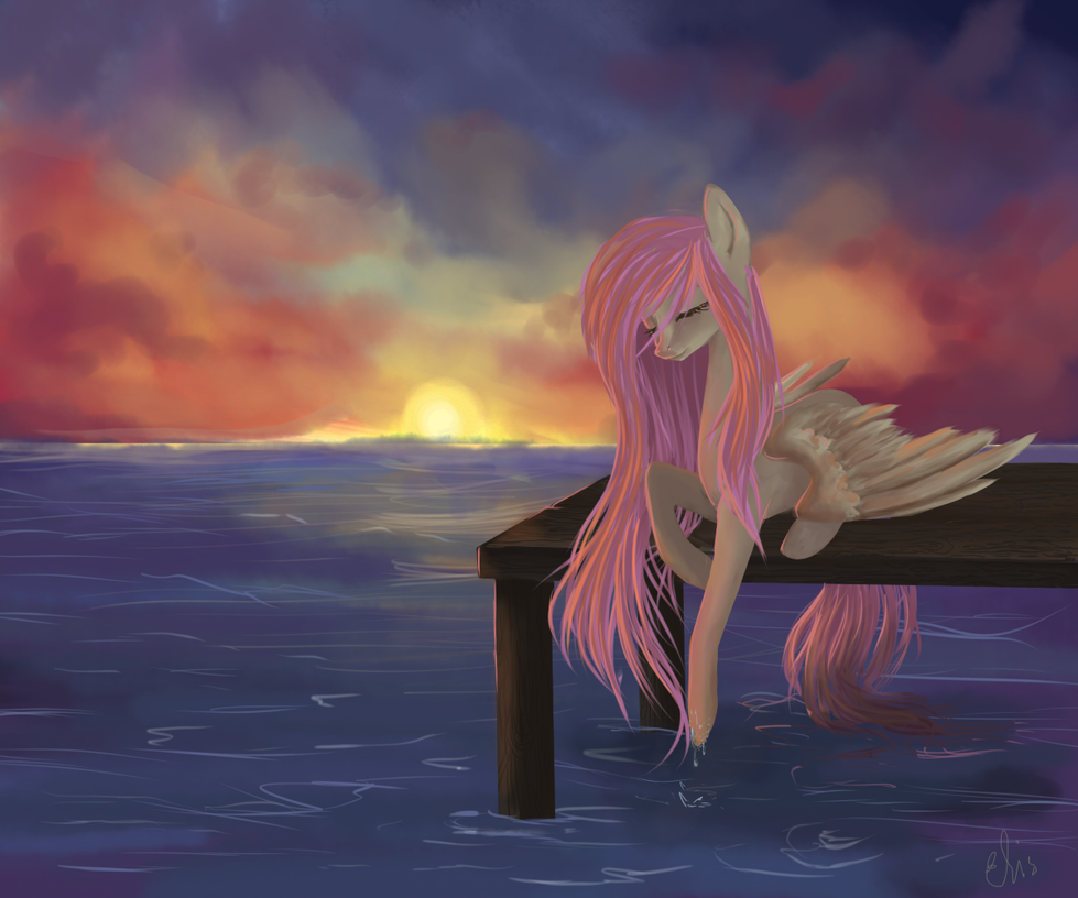 Fluttershy at Dawn by mrsElisSmitt