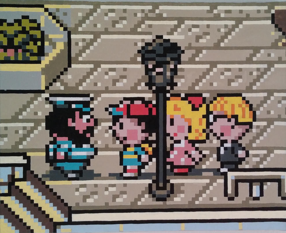 Earthbound Intro Pixel Painting by PixelBuddy
