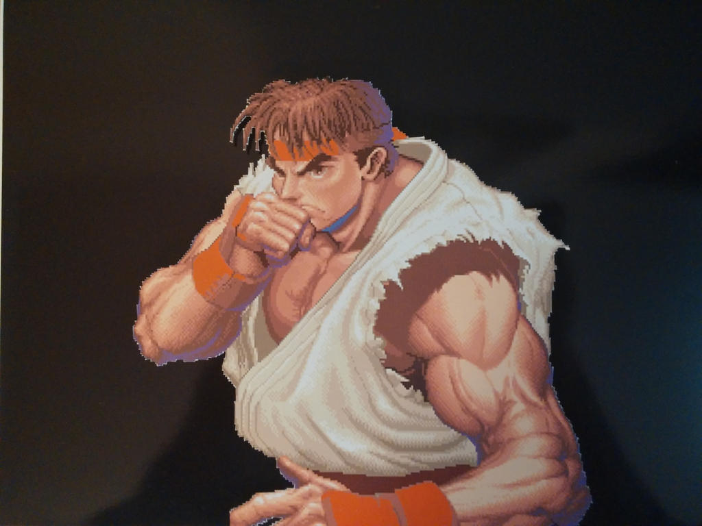Super Street Fighter 2 Intro Ryu 3D Pixel Art by PixelBuddy