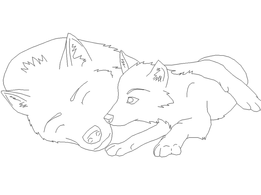 Wolf pups lineart