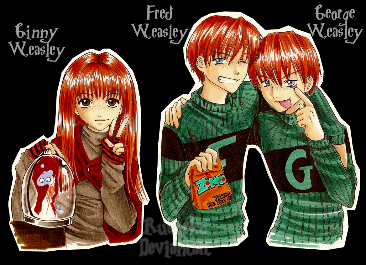 Ginny  Fred and George  by Rusneko jpgFred And George Weasley Anime