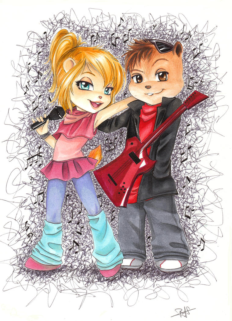 Alvin and Brittany by Rusneko