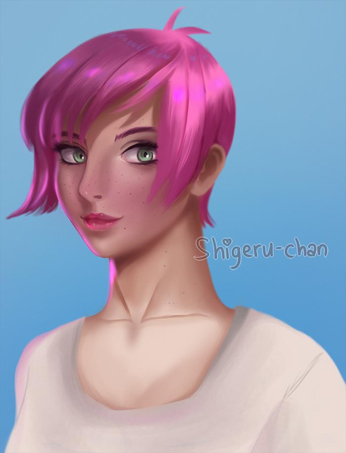 Pink girl by shigeru-chan
