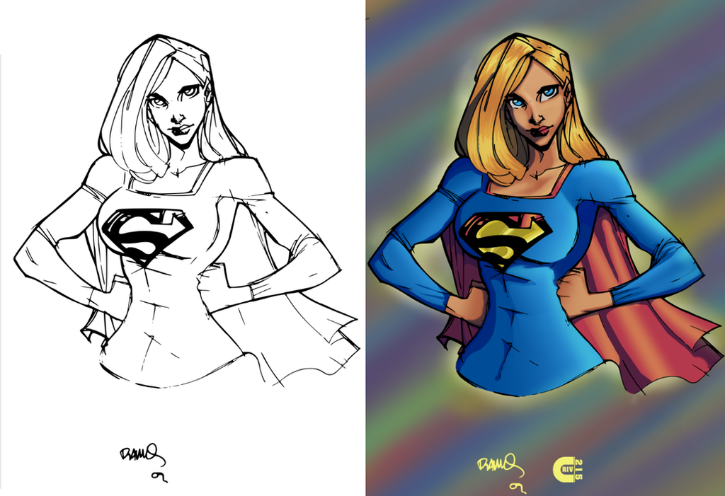 Supergirl B4 and After Color by criv215