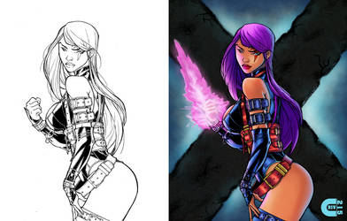 Psylocke B4 and After color by criv215