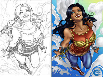 Wonder Woman - B4 and After Color by criv215