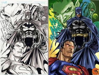 Superman Batman Joker Darkseid B4 and After Color by criv215