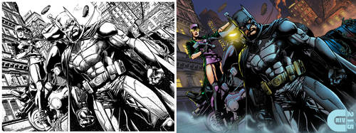 Batman and Catwoman B4 and After Colors by criv215