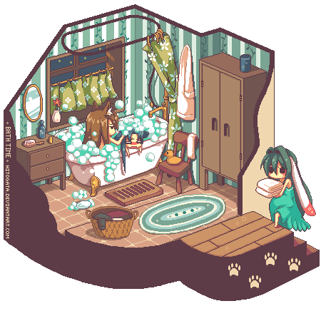 Pixel vignette bath time by hitogata on deviantart for Bath house shop