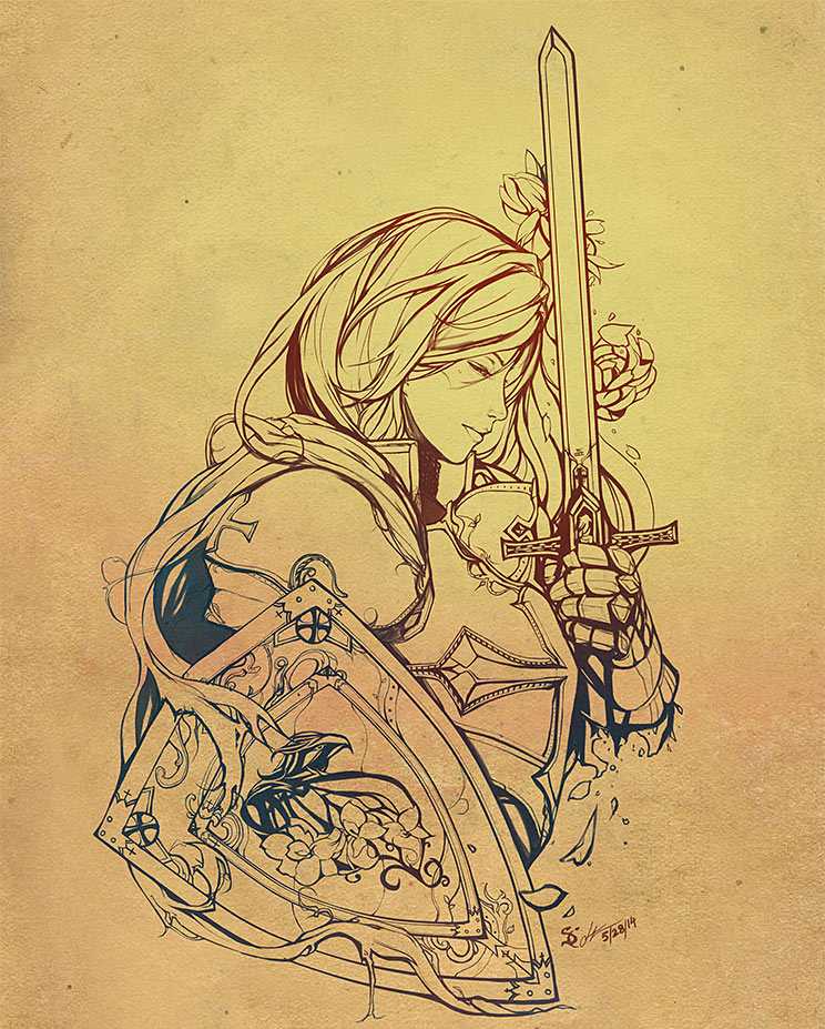 Line Drawing Tattoo Artists London : Female crusader tattoo line art by scrubbyink on deviantart