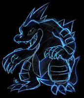 Neon Sketch Feraligatr by raizy