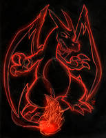 Neon Sketch Charizard by raizy