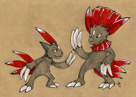 Craft Sneasel and Weavile by raizy
