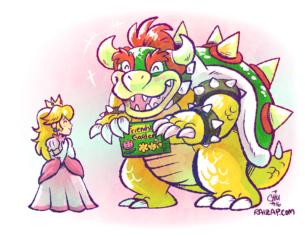Bowser and Peach Being Cute by raizy on DeviantArt