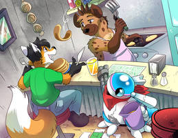 [Commission] Ronin Visits The Junk Hyenas Diner