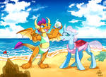 [Commission] Smolder and Ocellus at the Beach