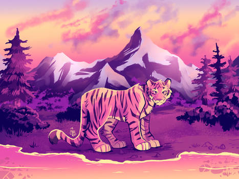[Commission] Tiger at the Lake