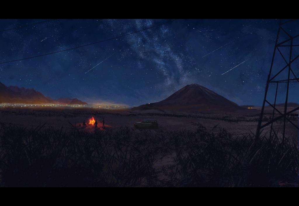 Bonfire in the Desert by ZhouRules
