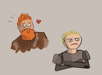 Game of Thrones Doodle - Tormund and Brienne by Angry-Goose