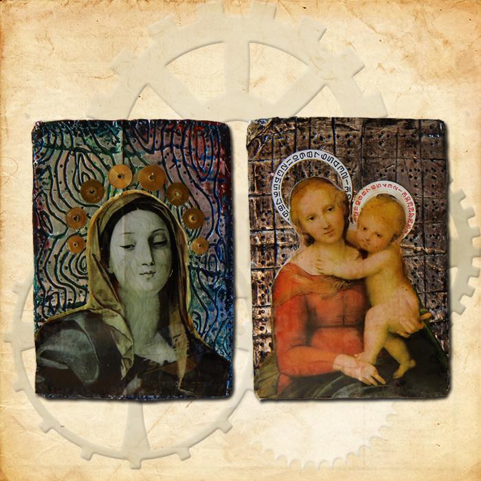Steampunk Madonnas ATCs by hogret