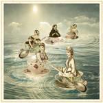 Surfers on a teacup sea