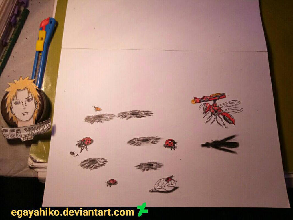 3d drawing art pensil insect by egayahiko