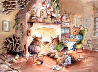 Fireside Mice by GabrielEvans