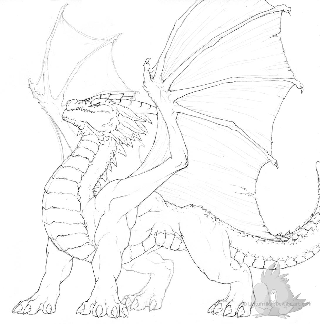 Dragon sketch by lintufriikki traditional art drawings fantasy 2008