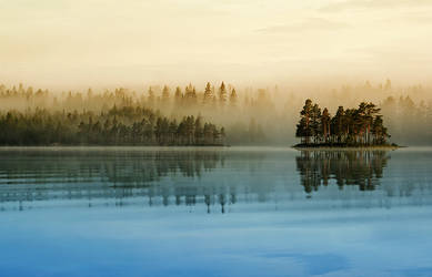 Misty Lake by RobinHedberg