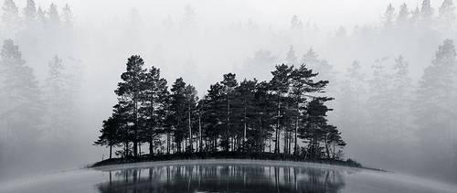 Misty Lake II BW by RobinHedberg