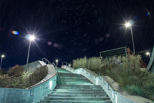 Stairway at night