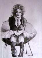 Helena Bonham Carter sitting by ArtLucie