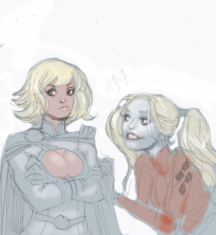 Power Girl Harley Quinn by moritat
