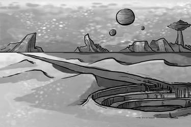 concept - space desert, value art by Dirgewood