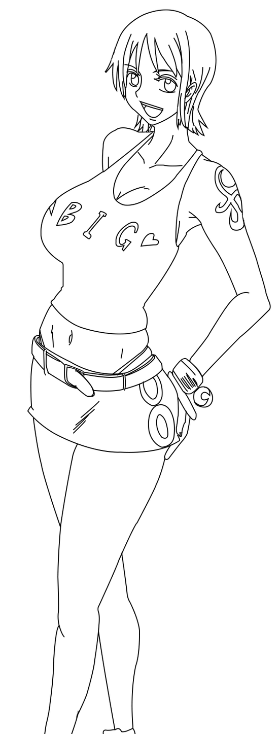Nami Lineart : Nami lineart by blackbarba on deviantart