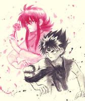 Kurama and Hiei by kirisen