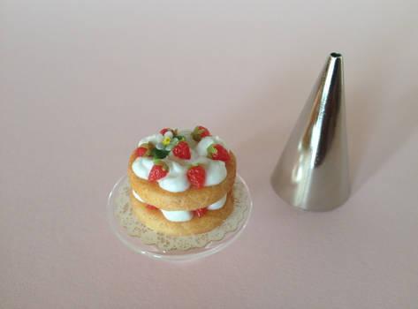 Miniature polymer clay strawberry shortcake