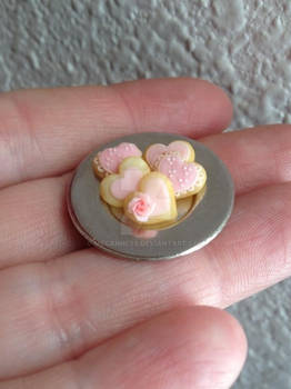 Miniature polymer clay Valentine's Day cookies