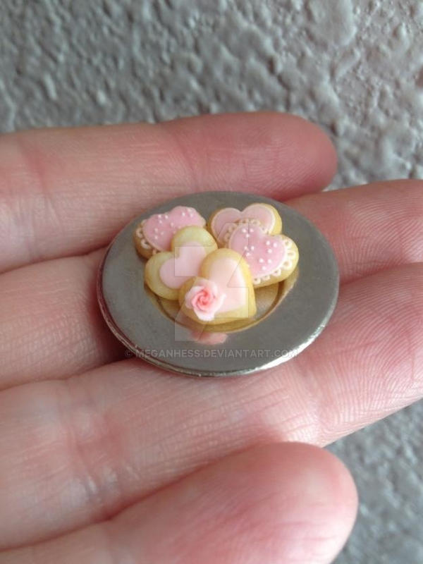Miniature polymer clay Valentine's Day cookies by MeganHess