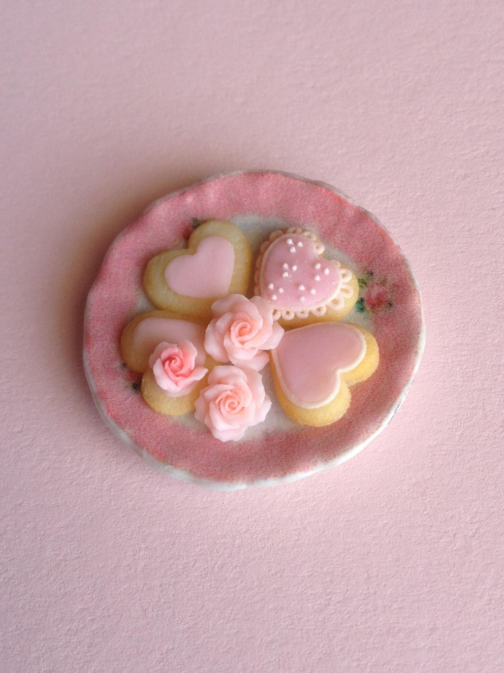 Polymer clay 1/12 scale Valentines Day cookies by MeganHess