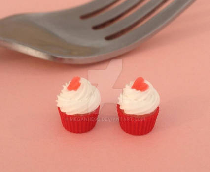 Miniature polymer clay Valentines Day cupcakes