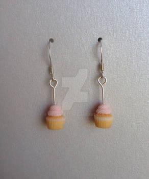 Polymer clay miniature cupcake earrings