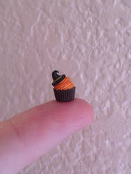 Miniature polymer clay Halloween cupcake by MeganHess