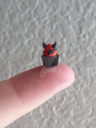 Little Devil mini polymer clay Halloween cupcake